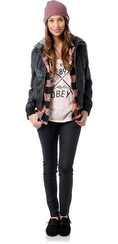 Classic Street Style: Obey Jealous Lover Bomber Jacket + Glamour Kills Plaid Woven + Empyre Girls Jeggings. (Fall 2012 Look Book. Outfit # 3)