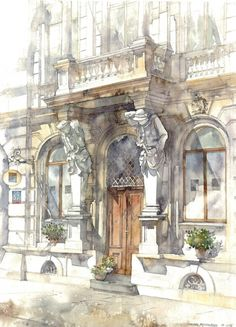 Classical Architecture Watercolor. Mokotowska 57 by Joanna Pętkowska