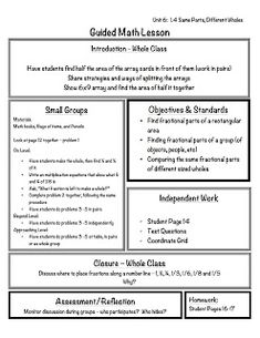 Everyday Math Lesson Plan Template  Math    Lesson