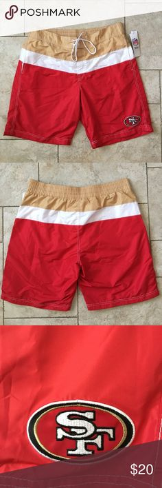 Brand New 49ers Board Shorts With Tags Size XL Never worn! NFL 49ers Board Shorts has white inside lining and pockets on the hips. Swim Board Shorts