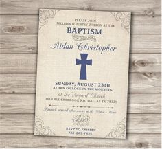 Baptism Printable Invitations Simple Burlap Cross Blue Grey Boy Vintage Burlap Personalized White Baptism Grey Navy Blue Printable pdf jpeg