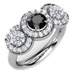 Black Diamond Three Stone Halo Ring