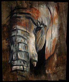 Elephant On Barnwood Painting by Michael Whitlark
