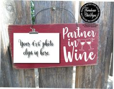 Partner in wine best friend gift wine lover wine friends wine   Etsy Painted Picture Frames, Rustic Picture Frames, Farmhouse Wall Decor, Farmhouse Chic, Maroon Background, Distressed Wood Signs, Wine Signs, Wine Decor, Craft Accessories