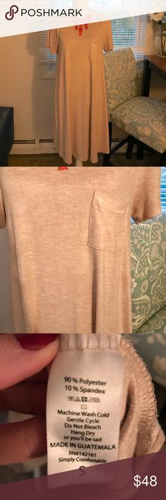 LulaRoe Carly Dress Super soft oatmeal/beige colored Carly. Excellent condition! LuLaRoe Dresses High Low