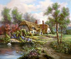 Hampshire Garden Pond by Carl Valente ~ English country cottage