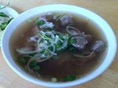 A bowl of simmering Vietnamese Pho from Pho Lucky in Marina.