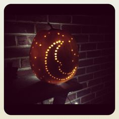 Pumpkin carved w/drill lit with led lights