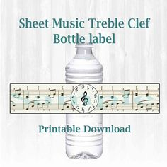 Musical note themed Water bottle labels. Treble Clef, Printable download by MoonGloCreations on Etsy