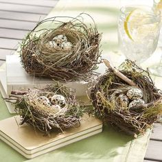 Nothing symbolizes spring and the season of rebirth and renewal like the incredible egg what more attractive way to make this cherished symbol part of your d than with our Birch Twig Nest and Glass Eggs? A quick and easy way to add a touch of natural charm to your Easter decorating, and beyond. Each nest is one of a kind, hand-made by artfully and securely arranging natural birch twigs into a realistic form, then lining it with grass. Eggs are equally inspired, crafted from 100% recycled…