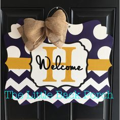 Polka Dot/Chevron Welcome Door Hanger -$35   This is the perfect gift for any ECU fans!  Choose your paint colors and initial.