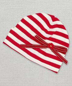 Look at this #zulilyfind! Red & Ivory Stripe Bow Beanie by Tesa Babe #zulilyfinds