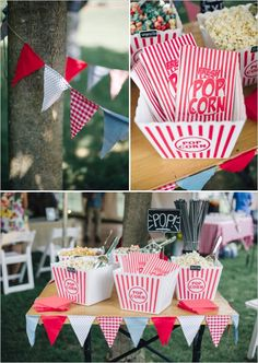 easy diy popcorn bar at wedding reception http://www.weddingchicks.com/2013/11/08/handcrafted-wedding/