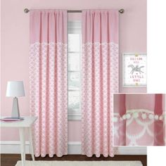 Better Homes and Gardens Scallops with Poms Curtain Panel Image 1 of 6 Shabby Chic Curtains, Pink Curtains, Modern Living Room Colors, Bedroom Barn Door, French Country Living Room, Pink Bedrooms, Daughters Room, Better Homes And Gardens, Bedroom Colors