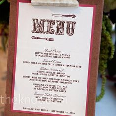 Love the idea of a rustic wedding..not loving the fork and knife on it though..