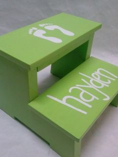 Children's Step Stool (footprints with name) on Etsy, $45.00