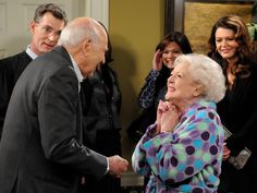 Elka (Betty White) is elated when she realizes that Max (Carl Reiner) has returned. Hot in Cleveland Wendie Malick, Jane Leeves, Carl Reiner, Valerie Bertinelli, All Tv, Betty White, Tv Land, Caption, Cleveland