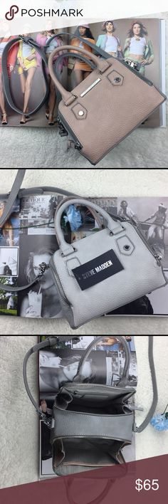 """Steve Madden BBaldwin mini cross-body. Bring your look full-circle with the beautifully detailed Steve Madden BBaldwin Mini Multi Compartment Satchel Cross-body Bag. -Double zip around compartments  -Pebbled color-block exterior with signature logo details  -Dual rolled handles 4"""" drop, Adjustable cross-body strap 23"""" drop  -Front compartment with slip pocket, Back compartment with zip pocket  -Shoulder Bag: 8"""" x 7"""" x 5"""" Inches (WxHxD) Color: Pink Fabric: Textured Faux Leather Measurements…"""