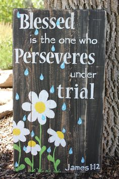 Blessed scripture wood sign James 112 wall by highplainsknotwork Pallet Crafts, Pallet Art, Pallet Signs, Wood Crafts, Diy And Crafts, Wood Projects, Craft Projects, Projects To Try, Painted Signs