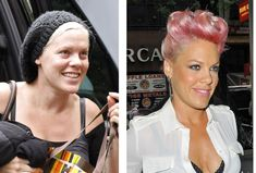 Pink before and after make-up! See a slew of others here...via Babble.com