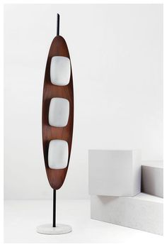 Reggiani standing lamp in teak and opaline glass Italy 1960