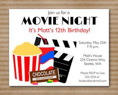 Movie Night Invitation / Movie Night Birthday / Hollywood / Slumber Party -  PRINTABLE PDF File / Printed Invitations Also Available. $10.00, via Etsy.