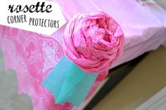 Mommy Testers DIY tissue paper rosettes that work as corner protectors to prevent head bumps at parties Disney Princess Birthday Party, Disney Princess Party, 2nd Birthday Parties, Third Birthday, Birthday Ideas, Princess Party Decorations, Diy Party Decorations, Dream Party, Party Fun