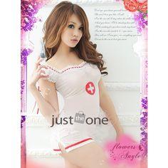 Sexy mujer caliente enfermera traje de cosplay ropa interior uniforme top + g- cadena de blanco