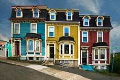 """These are Row Houses in St. John's, Newfoundland in the famous """"jelly-bean"""" colours. My friend, Ms. Les wants me to paint this so I'm gonna try. Exterior Paint Colors For House, Paint Colors For Home, House Colors, Paint Colours, Newfoundland Canada, Newfoundland And Labrador, Newfoundland Icebergs, Victorian Windows, Victorian Homes"""