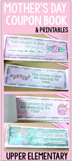 Mother's Day (Or Special Loved One) Coupon Book and Other Printables. Perfect for Upper Elementary