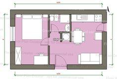 mini piso Micro House Plans, Little House Plans, Small House Plans, Studio Floor Plans, Hotel Floor Plan, House Floor Plans, Dorm Design, Hotel Room Design, House Design
