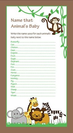 "Safari Animals, Baby Shower Game, Quiz, Animal Babies, Baby Boy, Baby Girl, Nursery Rhyme Game, 6""x11"" by NestedExpressions, $30.00"