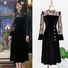 Feeling lavish and extravagant? Be like Jang Man Wol, the CEO of Hotel Del Luna, who loves fancy things just like this dress. Get this latest item inspired from newest Korean Drama Hotel Del Luna to complete your posh look! Cheap Dresses, Casual Dresses, Fashion Dresses, Korea Fashion, Kpop Fashion, Luna Fashion, Cute Black Dress, Korean Dress, Mode Vintage