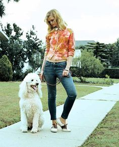 Current/Elliott Spring Summer 2011 stiletto jeans with saddle shoes and floral cardigan