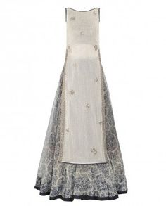Ivory Mirror Work Tunic with Navy Blue Lengha