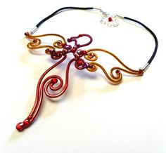 Phoenix Pendant in Tangerine Fuchsia and Cranberry with Flame Motif