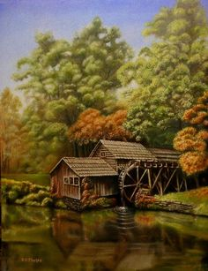 A landscape oil painting demonstration, Mabry Mill.