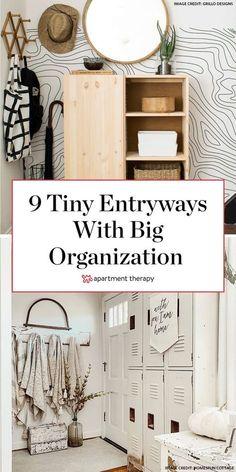 Smart storage solutions for entryways, no matter how small. #entryway #mudroom #storageideas #storagetips #storagehacks #entrywayideas #organizingideas