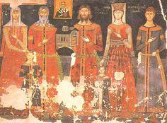 Serbian Knez Paskač with his family, middle of 14th century, Monastery Psača, Republic of Macedonia