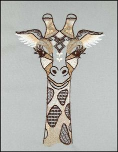Shades of Tangled Animals Giraffe Drawing, Giraffe Art, Blackwork Embroidery, Embroidery Hoop Art, Butterfly Mandala, Denim Crafts, Modern Cross Stitch Patterns, Free Machine Embroidery Designs, Drawings