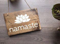 Namaste Hanging Sign, Yogi Sign, Yoga Sign, Namaste Sign, Yoga Decor, Yoga Studio Decor, Yogi Decor, Meditation Room Decor, Wooden Wall Art by AllyBethDesignCo