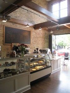 Small bakery case doubled as pay counter