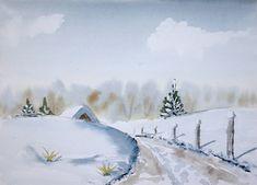 Winter landscape - watercolor