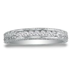 10K White Gold Antique Diamond Anniversary Wedding Band 1/8ct tw, Available Ring Sizes 3.5 - 9, Ring Size 4.5 SuperJeweler,http://www.amazon.com/dp/B007WSBWQ4/ref=cm_sw_r_pi_dp_E5jYsb1K7R9TP2C2