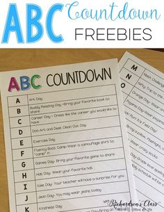 ABC Countdown is a FUN way to countdown the last days of school! My students LOVED it so much! (We combine a few days!) Your kindergarten and first graders are sure to love it! Snag the freebies to have some wonderful end of year activities! Kindergarten Graduation, Kindergarten Classroom, Kindergarten Activities, Abc Countdown Kindergarten, Abc Activities, End Of School Year, Summer School, School Days, School Stuff