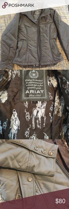 NWOT insulated Ariat Jacket Stunning never worn ariat jacket. High neck for added warmth. Stunning ariat snaps and embellishments. Zip closure pockets. Insulated for warmth during cold barn days. Inside has beautiful horse and rider design as seen in pictures. Brownish grey Ariat Jackets & Coats