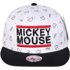 Disney Mickey Mouse Embroidered Logo New Era Style Snapback Hat... ($18) ❤ liked on Polyvore featuring accessories, hats, snapback hats, baseball caps hats, ball cap hats, ball caps and baseball cap