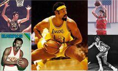 Jerry Lucas (top L);  Lou Hudson (inferior L);  Wilt Chamberlain (centro);  Jerry Sloan (top R);  Norm Van Lier (inferior R)
