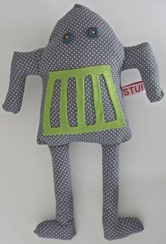 Knuffelbeesten - Robot toy grey - Een uniek product van Sandra-van-Kuijk op DaWanda