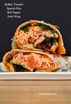 Vegan Richa: Spanish Rice, Buffalo Tempeh, Kale, Bell Pepper Wraps. Vegan Mofo Recipe